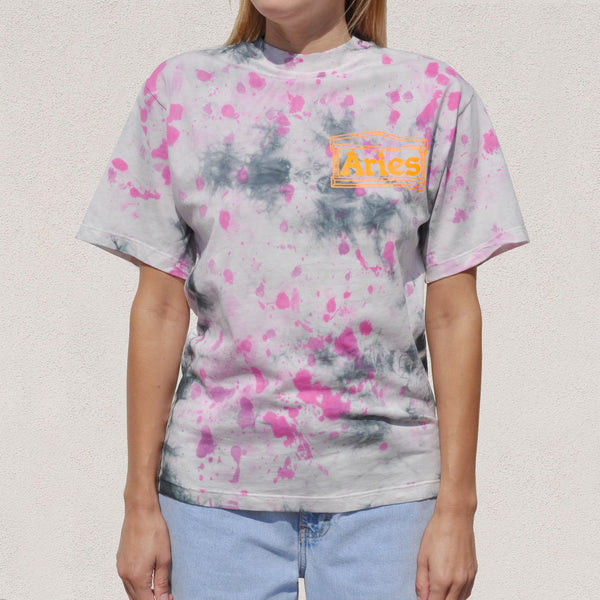 Aries - Temple SS Tie Dye Tee - Purple, front view, available at LCD.