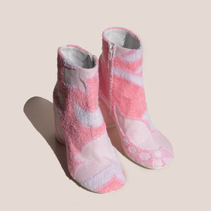 MM6 - Ankle Boot - Pink Terry Cloth, angled view, available at LCD.