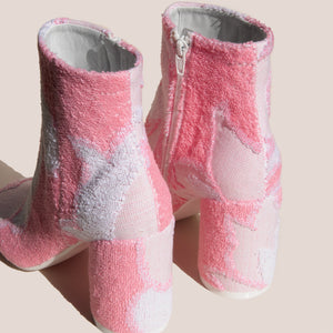 MM6 - Ankle Boot - Pink Terry Cloth, back view, available at LCD.