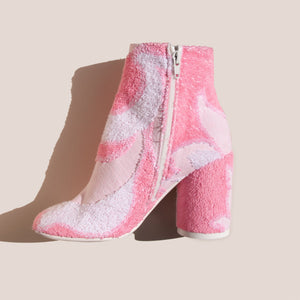 MM6 - Ankle Boot - Pink Terry Cloth, side view, available at LCD.