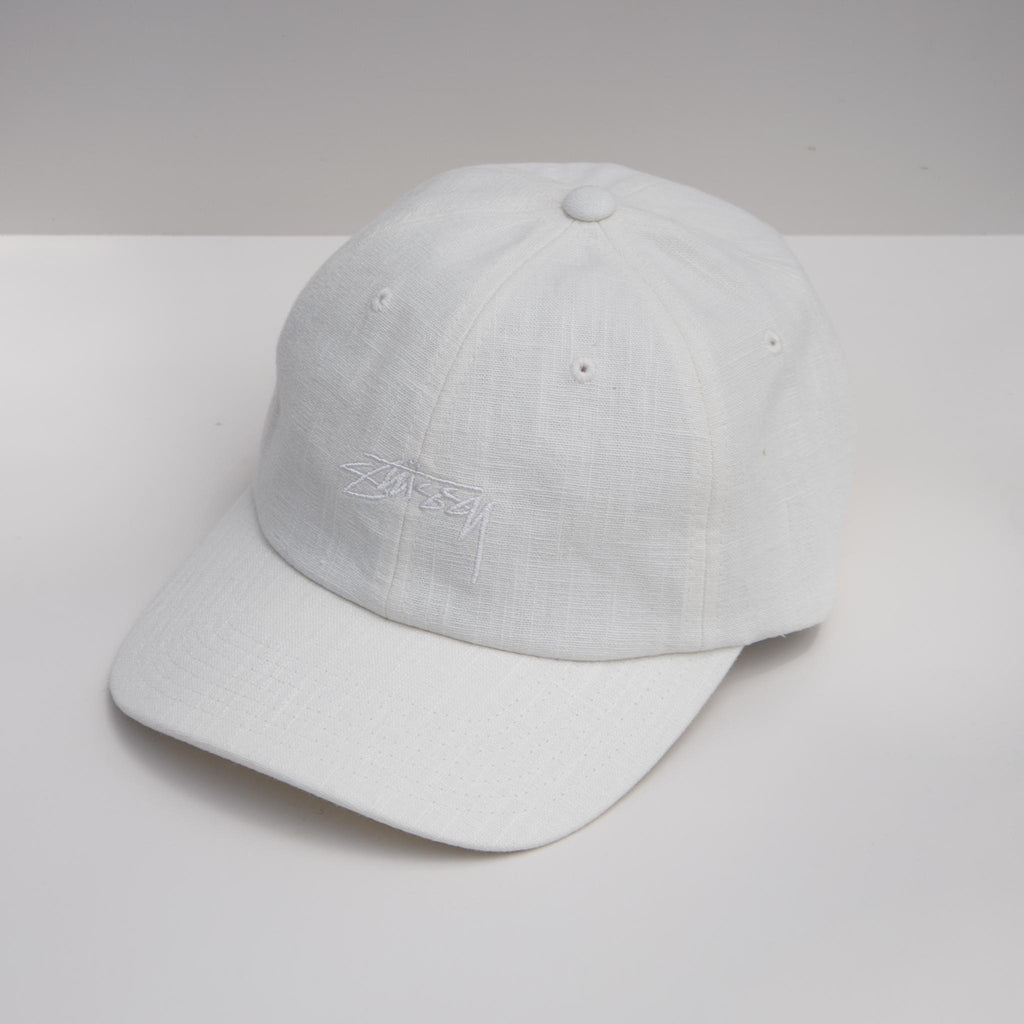Stussy - Textured Linen Low Pro Cap - Off White, angled view, available at LCD.