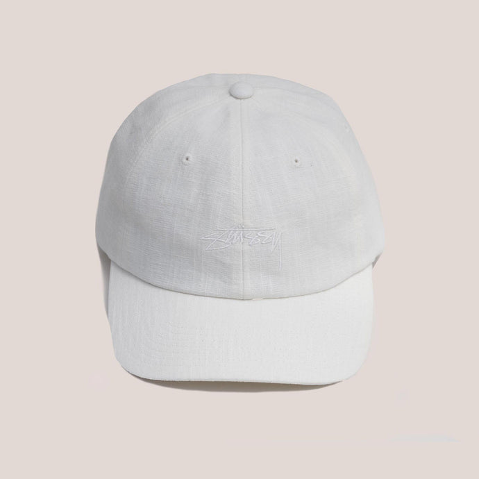 Stussy - Textured Linen Low Pro Cap - Off White, front view, available at LCD.