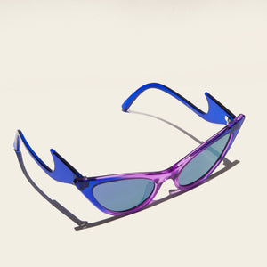 Adam Selman x Le Specs - The Prowler - Cobalt Violet Fade, angled view, available at LCD.
