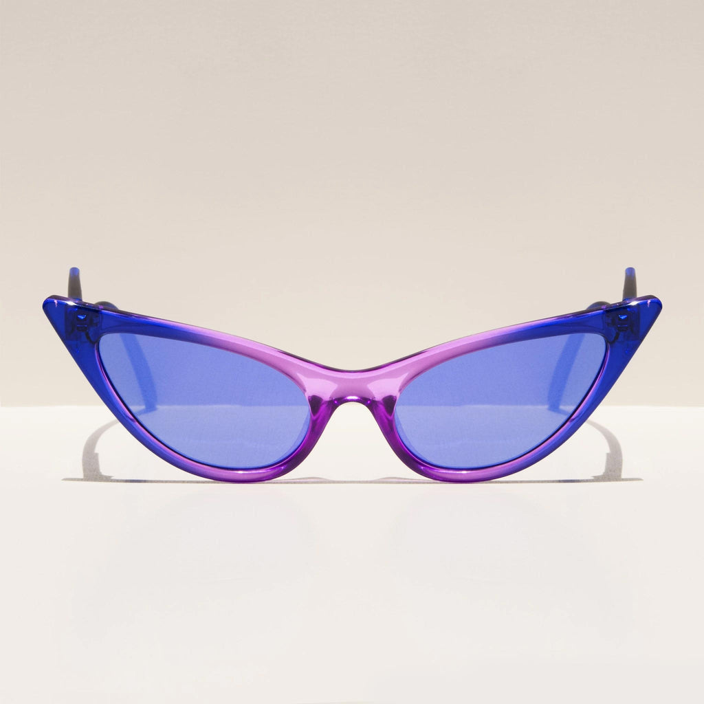 Adam Selman x Le Specs - The Prowler - Cobalt Violet Fade, front view, available at LCD.