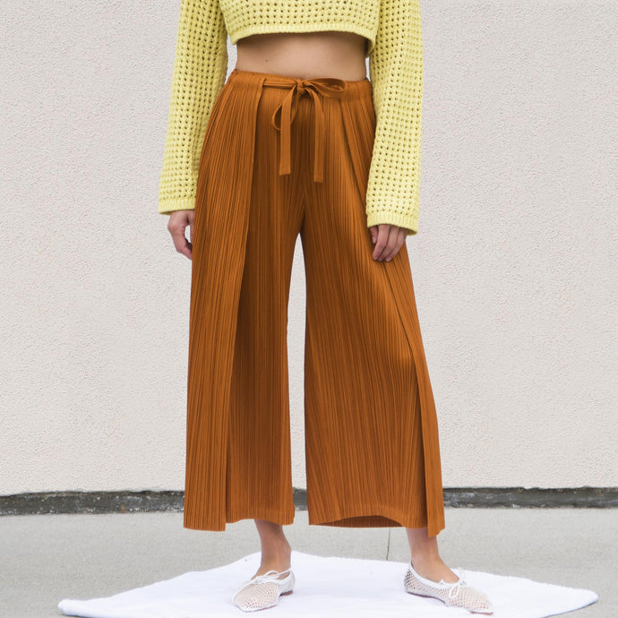 Pleats Please - Thick Wrap Trousers, front view, available at LCD.