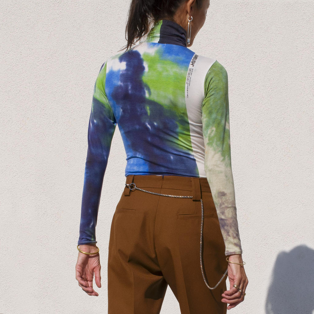 Ambush - Tie Dye Print Turtleneck Tee, back view.