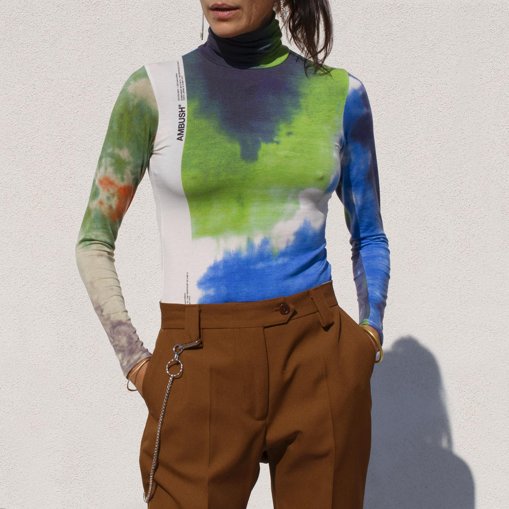 Ambush - Tie Dye Print Turtleneck Tee, front view.