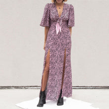 Load image into Gallery viewer, Les Reveries - Tie Front Flutter Sleeve Dress with Slits, front view, available at LCD.
