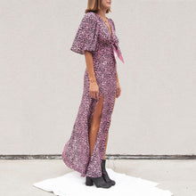 Load image into Gallery viewer, Les Reveries - Tie Front Flutter Sleeve Dress with Slits, angled view, available at LCD.