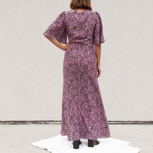 Load image into Gallery viewer, Les Reveries - Tie Front Flutter Sleeve Dress with Slits, back view, available at LCD.