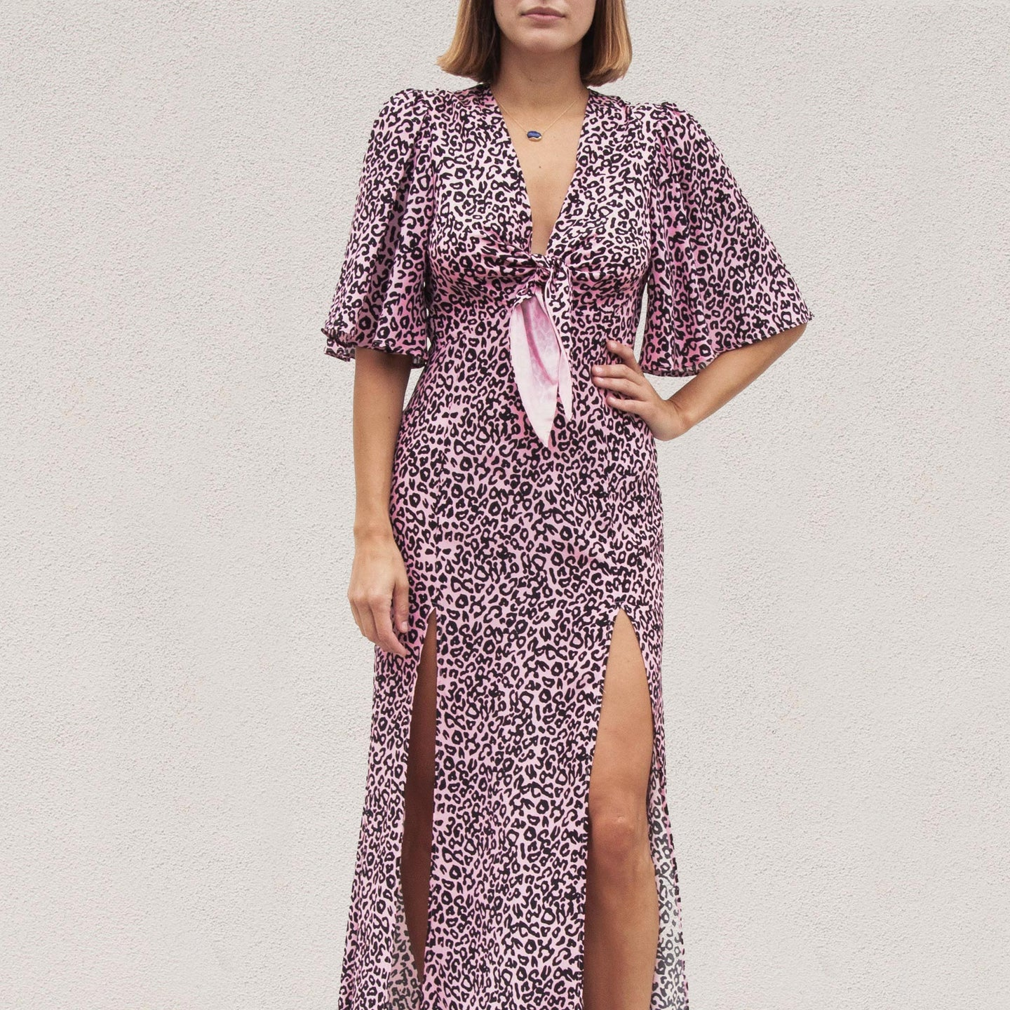 Les Reveries - Tie Front Flutter Sleeve Dress with Slits, front view, available at LCD.