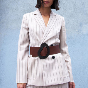 Tibi - Tropical Wool Blazer with Sleeve Slit, front view, available at LCD.