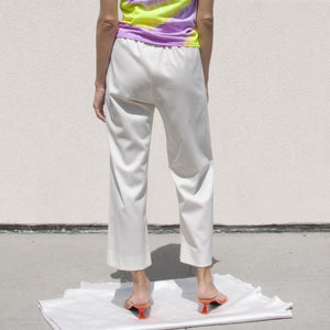 MM6 - Twill Cropped Straight-Leg Pant, back view, available at LCD.