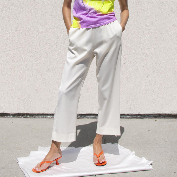 MM6 - Twill Cropped Straight-Leg Pant, front view, available at LCD.