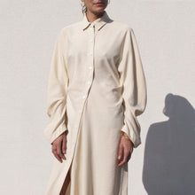 Load image into Gallery viewer, Lorod - Twisted Shirt Dress - Cream, front view, available at LCD.