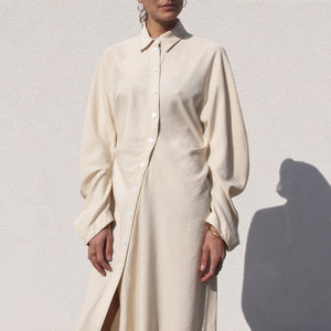Lorod - Twisted Shirt Dress - Cream, front view, available at LCD.