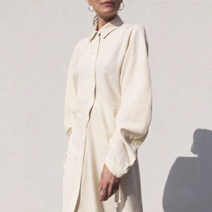 Lorod - Twisted Shirt Dress - Cream, front detail view, available at LCD.