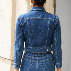 Proenza Schouler White Label - Two Tone Denim Jacket, rear view, available at LCD.