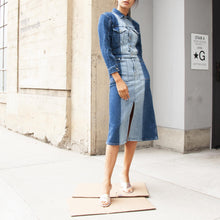 Load image into Gallery viewer, Proenza Schouler White Label - Two Tone Denim Jacket, pictured with the Proenza Schouler White Label Two Tone Denim Long Skirt, both available at LCD.