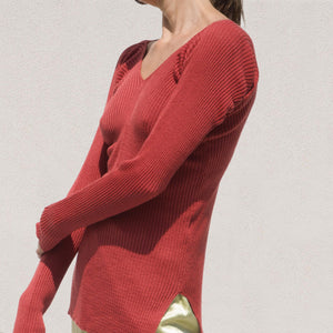 Low Classic - V-Neck Rib Knit, angled view, available at LCD.