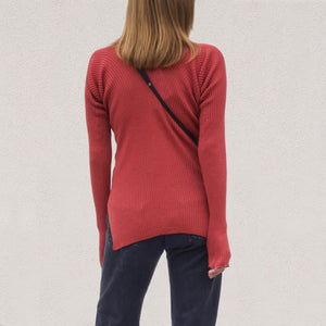 Low Classic - V-Neck Rib Knit, back view, available at LCD.
