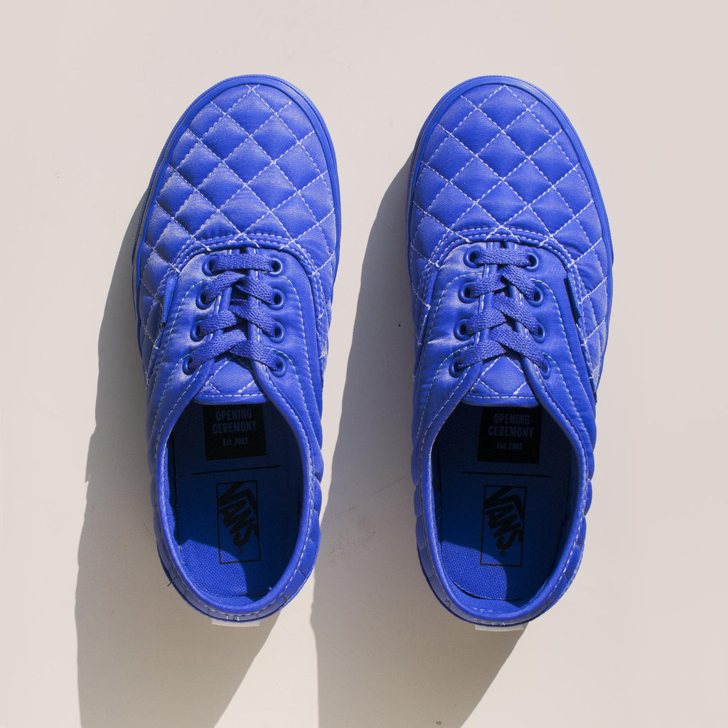 Vans - Vans x OC Quilted Authentic in Baja Blue, aerial view.