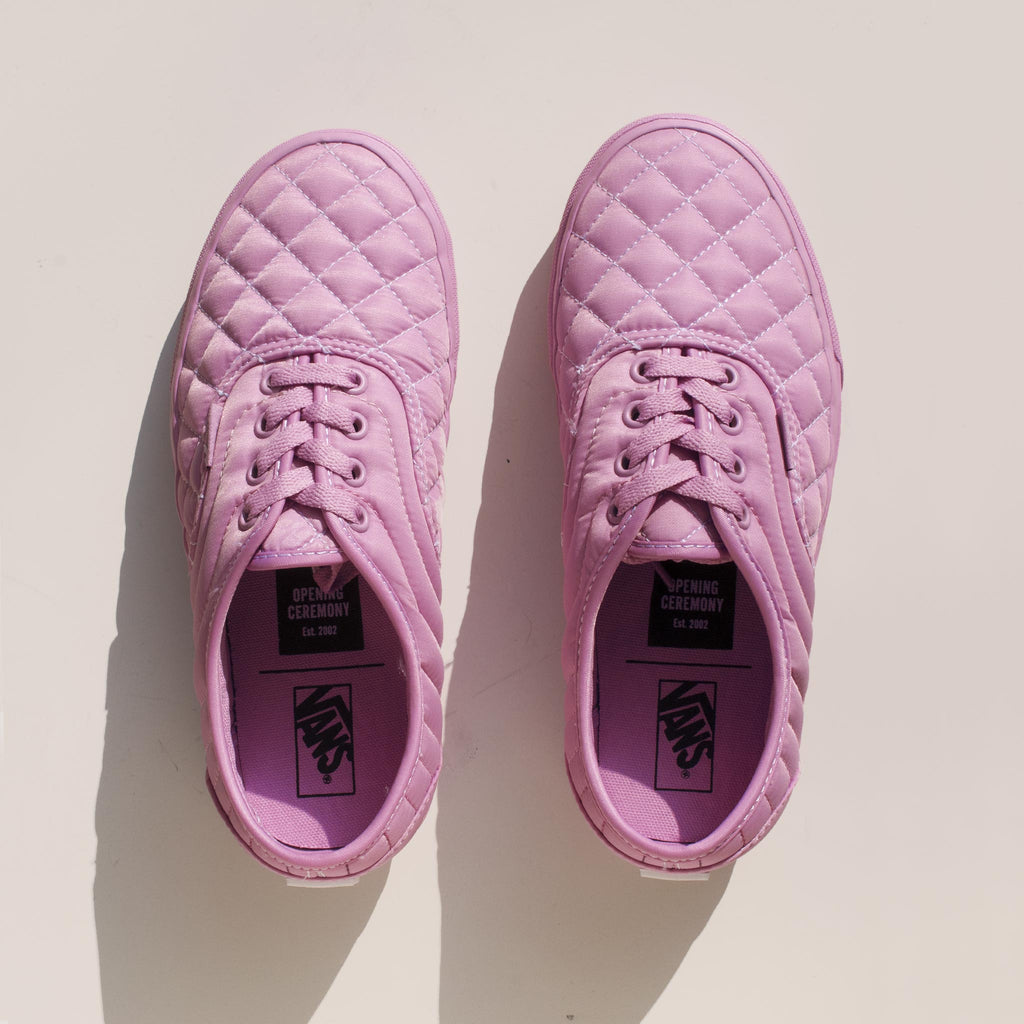 Vans - Vans x OC Quilted Authentic in Orchid, aerial view.