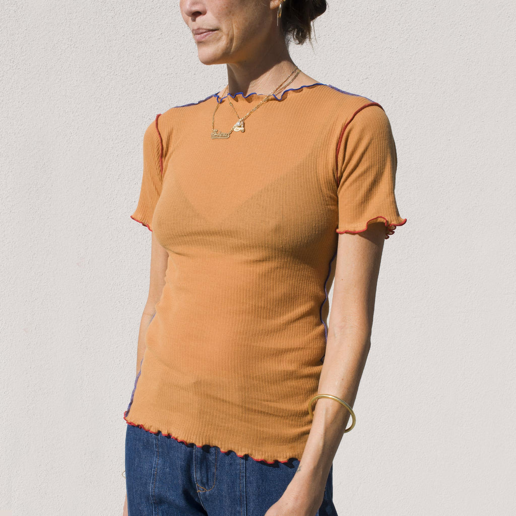 Baserange -  Vein Tee in Camel, angled view.