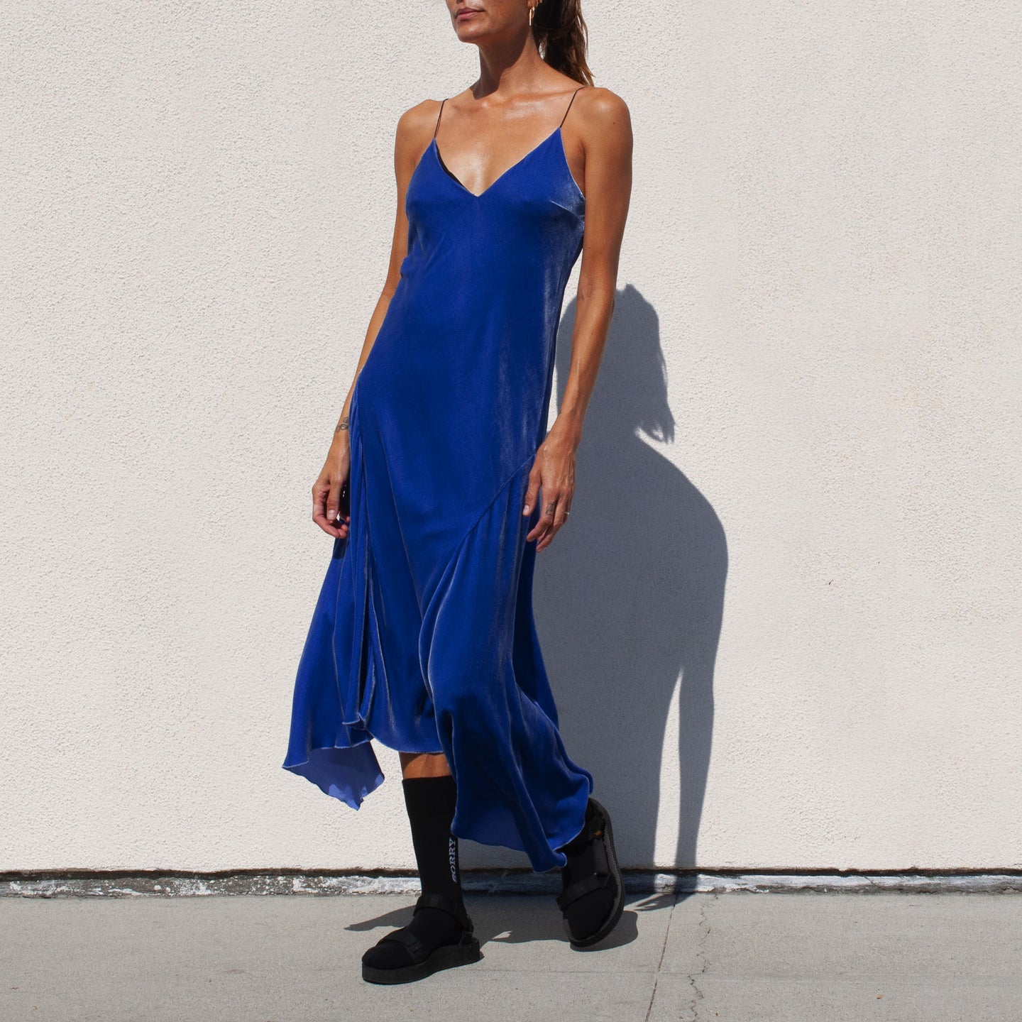 Walk of Shame - Velvet Slip Dress, angled view, available at LCD.