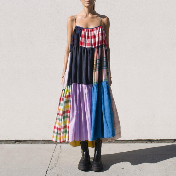 La Reunion - La Réunion - Vibrant Patchwork Dress, No. 2, front view.