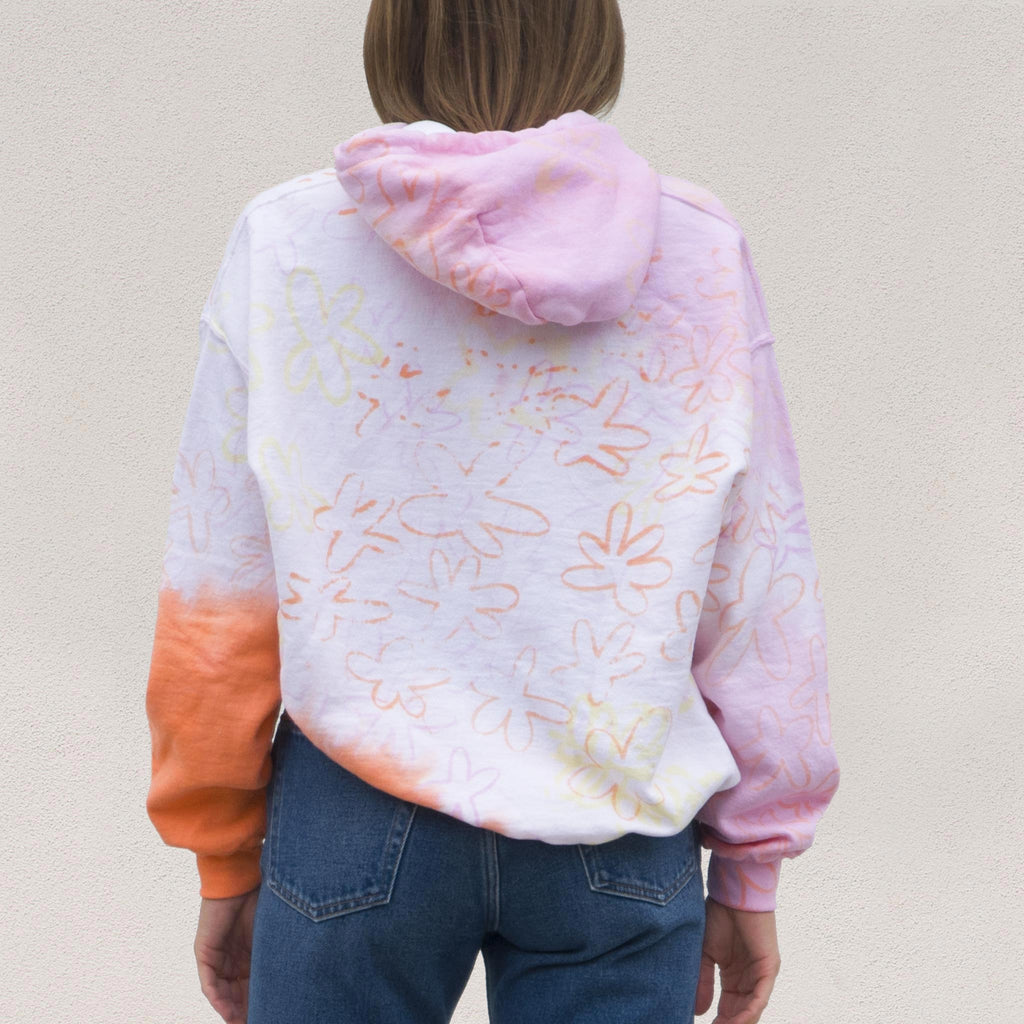 Collina Strada - Wave Hem Hoodie - Sunset Flowers, back view, available at LCD.