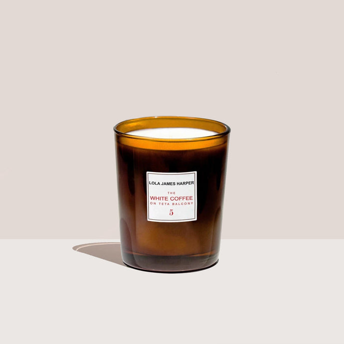 Lola James Harper - White Coffee Candle, available at LCD.