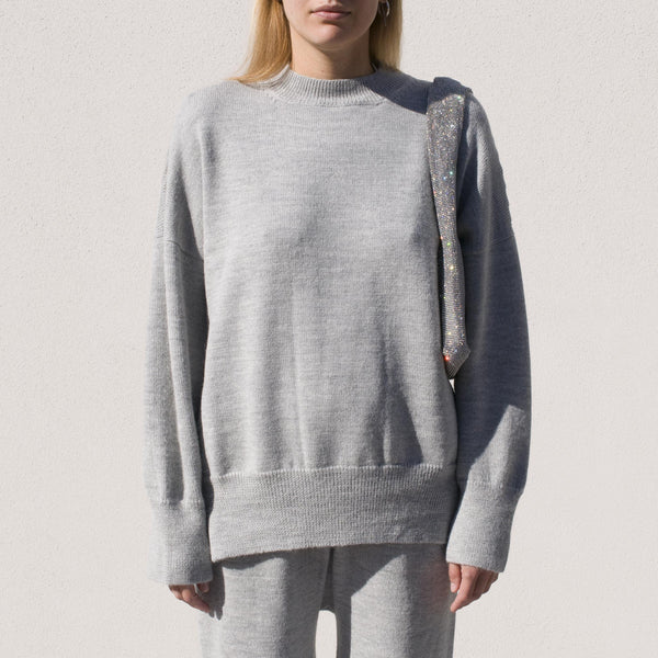 Lauren Manoogian - Wide Crewneck - Light Grey, front view.