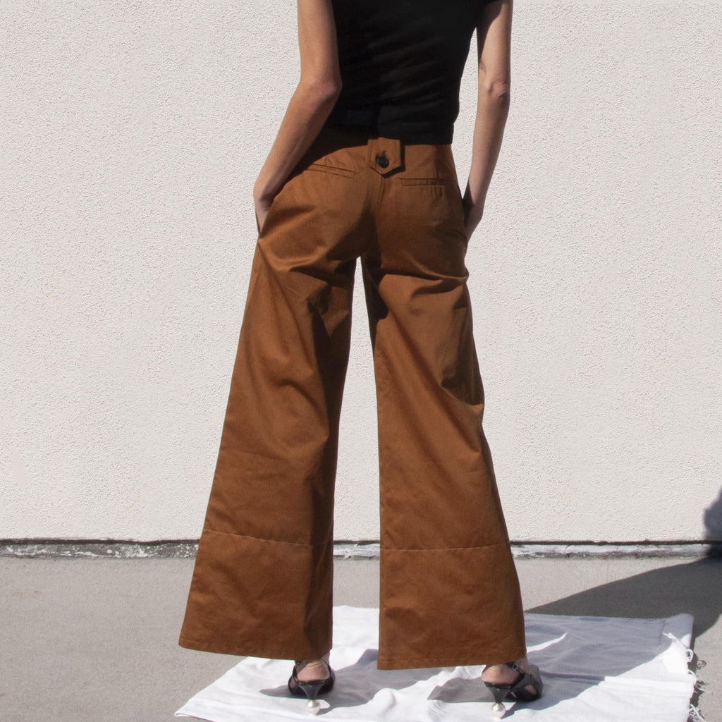 Delada - Wide Leg Cargo Trousers, back view, available at LCD.