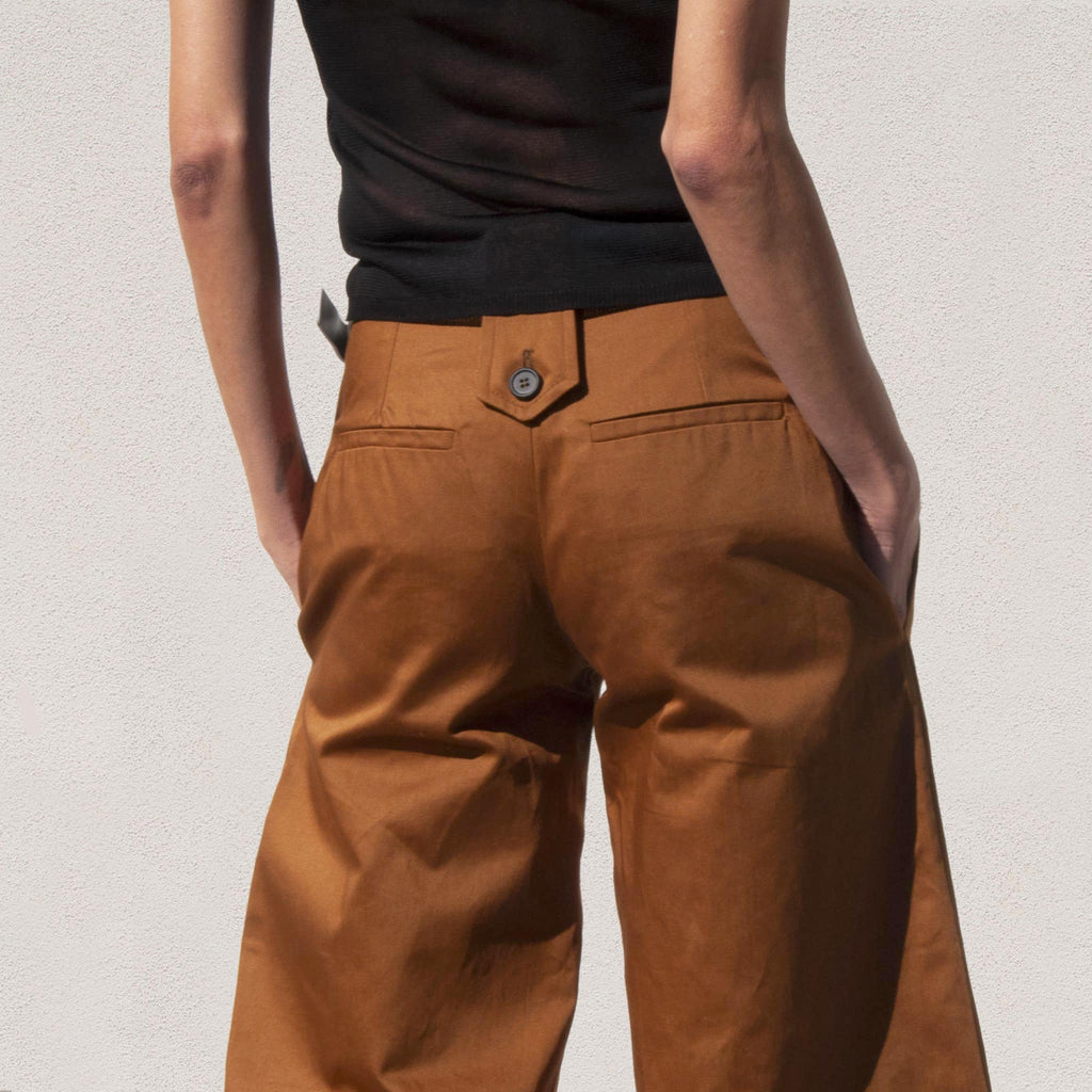 Delada - Wide Leg Cargo Trousers, back detail, available at LCD.