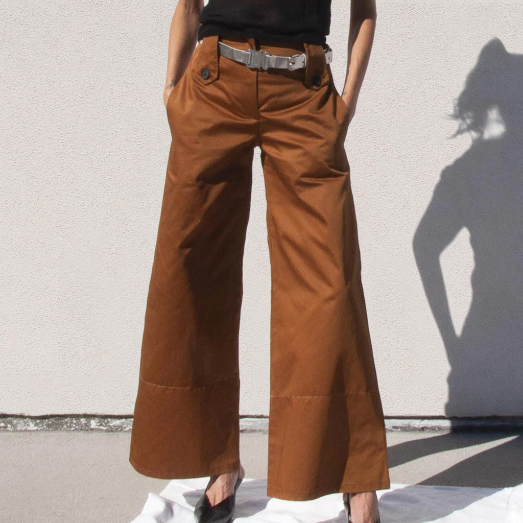 Delada - Wide Leg Cargo Trousers, front view, available at LCD.