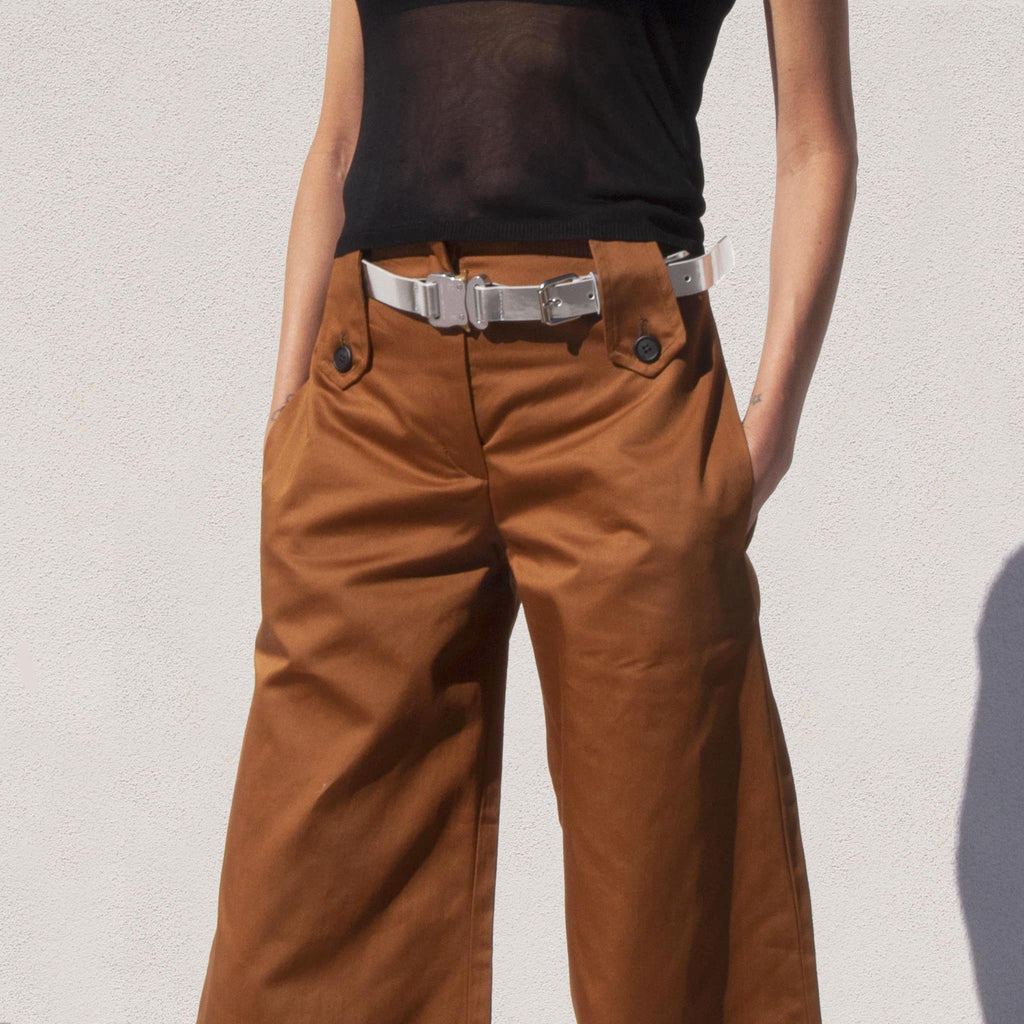 Delada - Wide Leg Cargo Trousers, front detail, available at LCD.