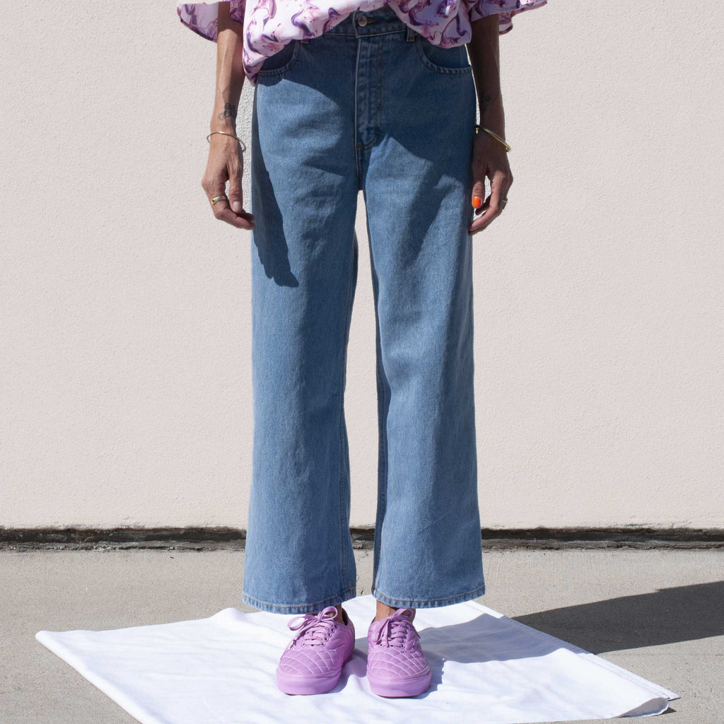 Eckhaus Latta - Wide Leg El Jean in True Blue, front detail.