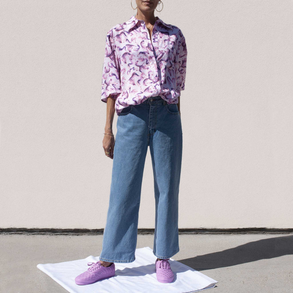 Eckhaus Latta - Wide Leg El Jean in True Blue, outfit view