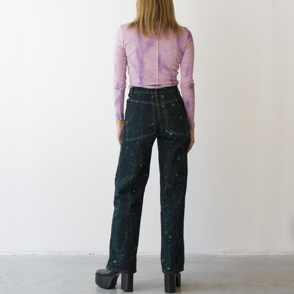 Eckhaus Latta - Wide Leg Jean - Viridi Splatter, back view, available at LCD.