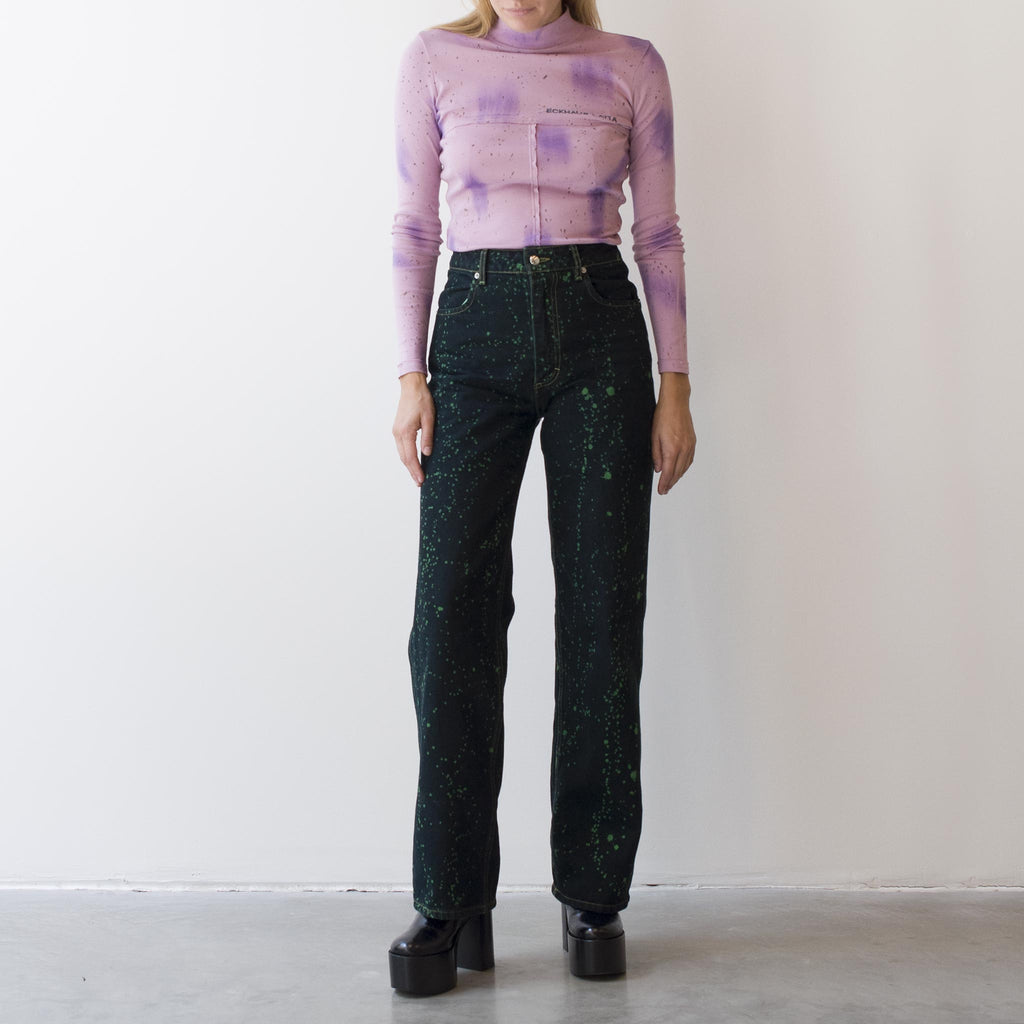 Eckhaus Latta - Wide Leg Jean - Viridi Splatter, front view, available at LCD.
