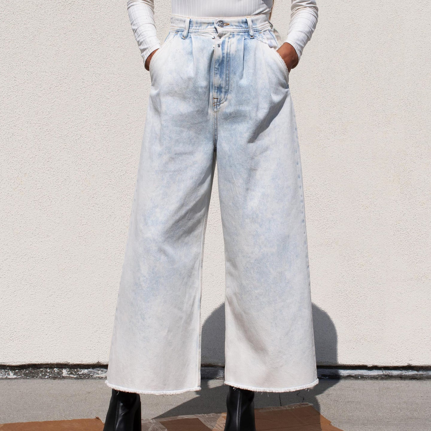 MM6 - Wide-leg Jeans, front view, available at LCD.