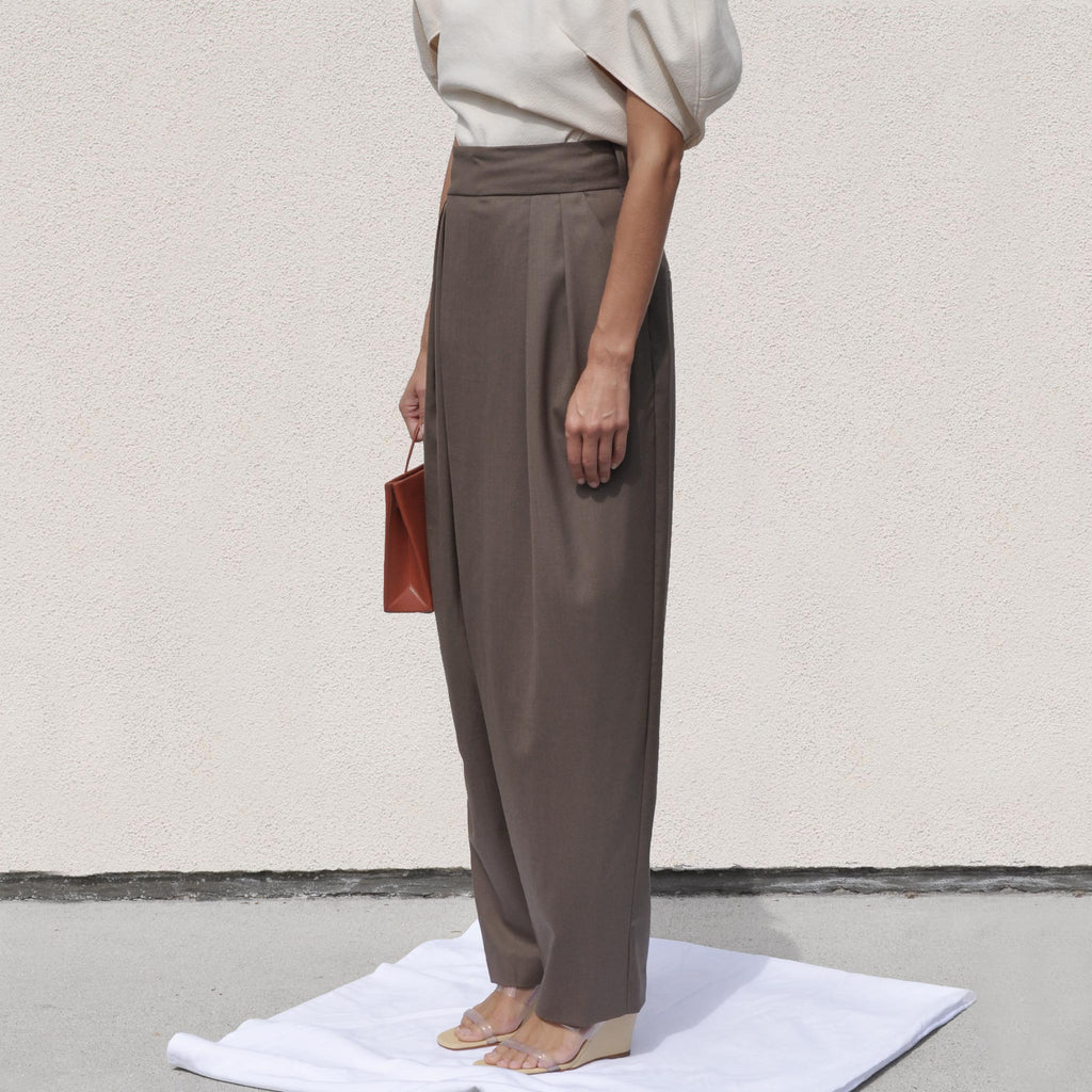 Low Classic - Wide Tuck Pants, angled view, available at LCD.