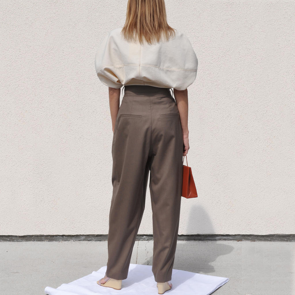 Low Classic - Wide Tuck Pants, back view, available at LCD.