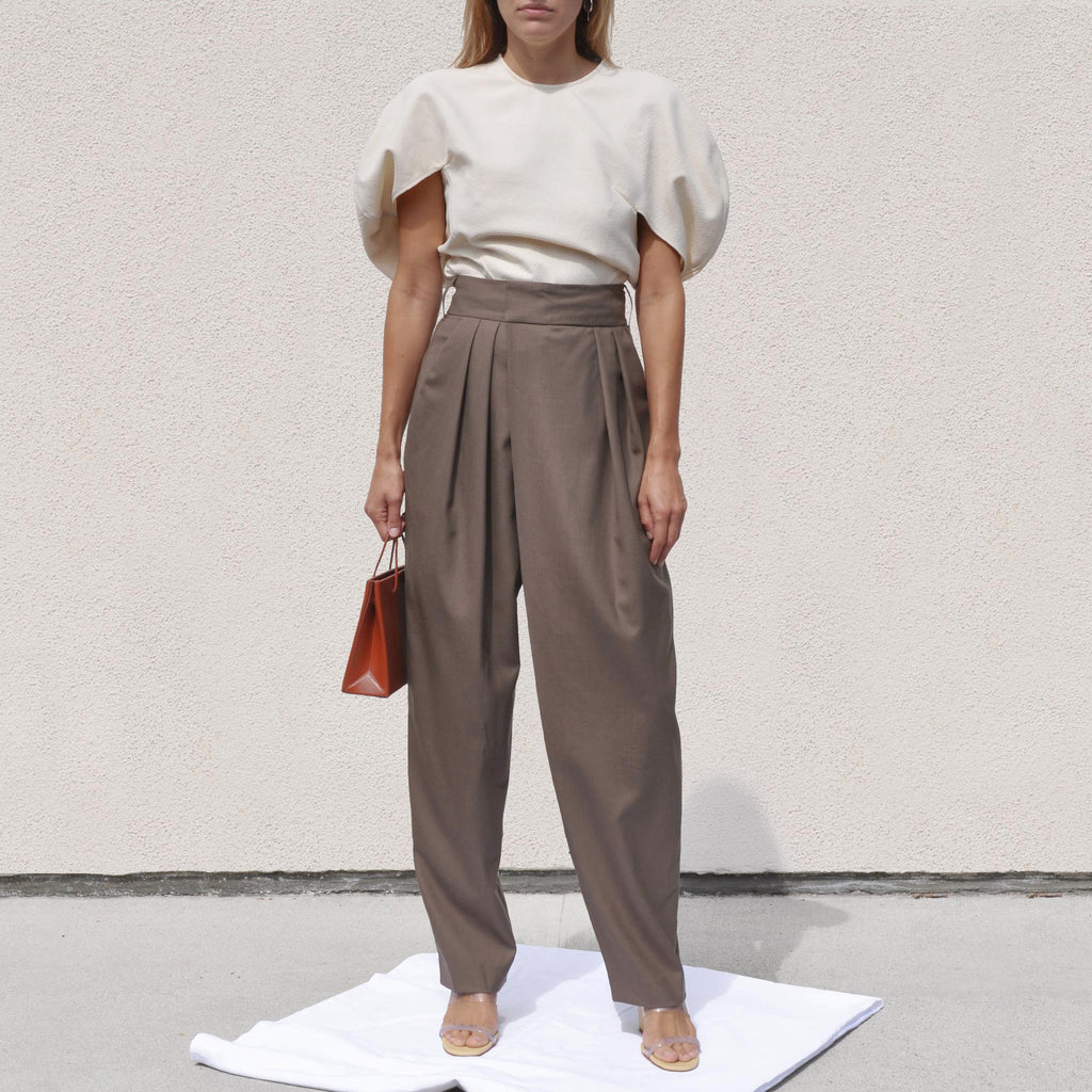 Low Classic - Wide Tuck Pants, front view, available at LCD.