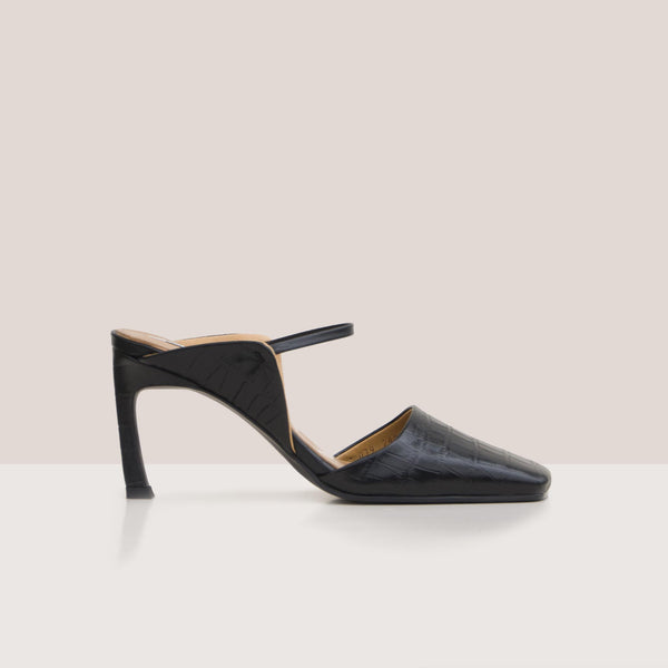 Reike Nen - Wing Strap Mules - Black, side view, available at LCD.