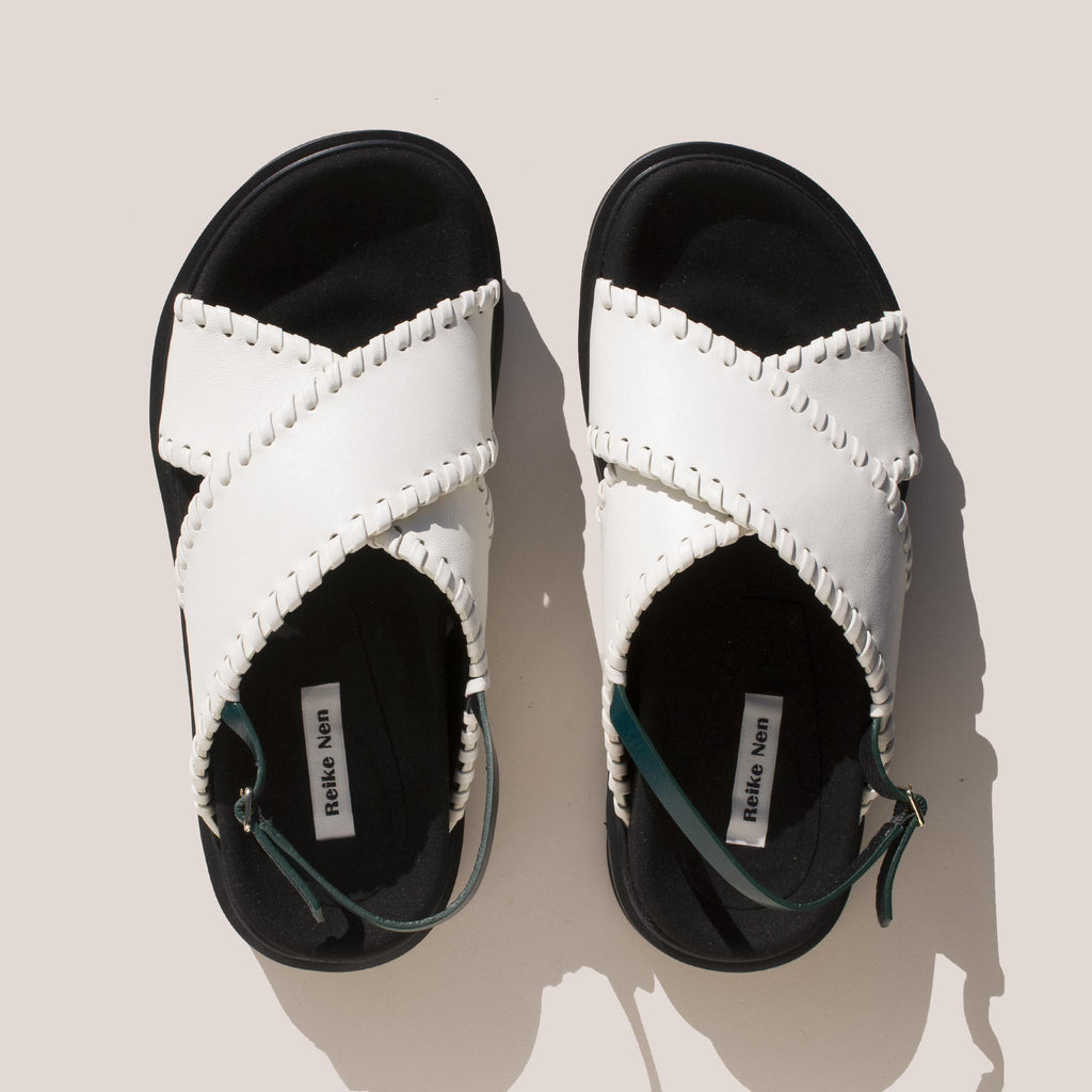 Reike Nen - X Strap Mold Sandals in Off White and Green, aerial view.