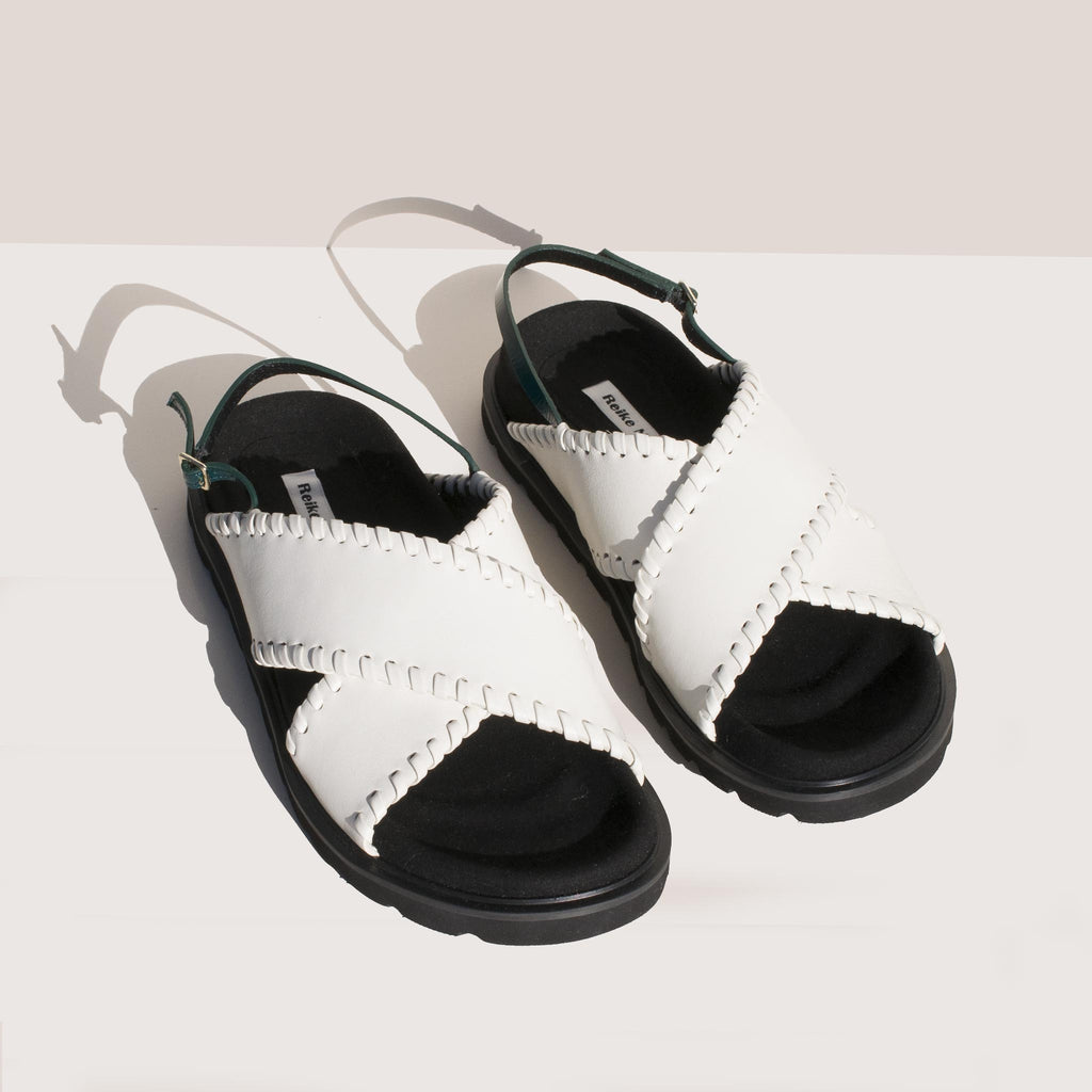 Reike Nen - X Strap Mold Sandals in Off White and Green, angled view.