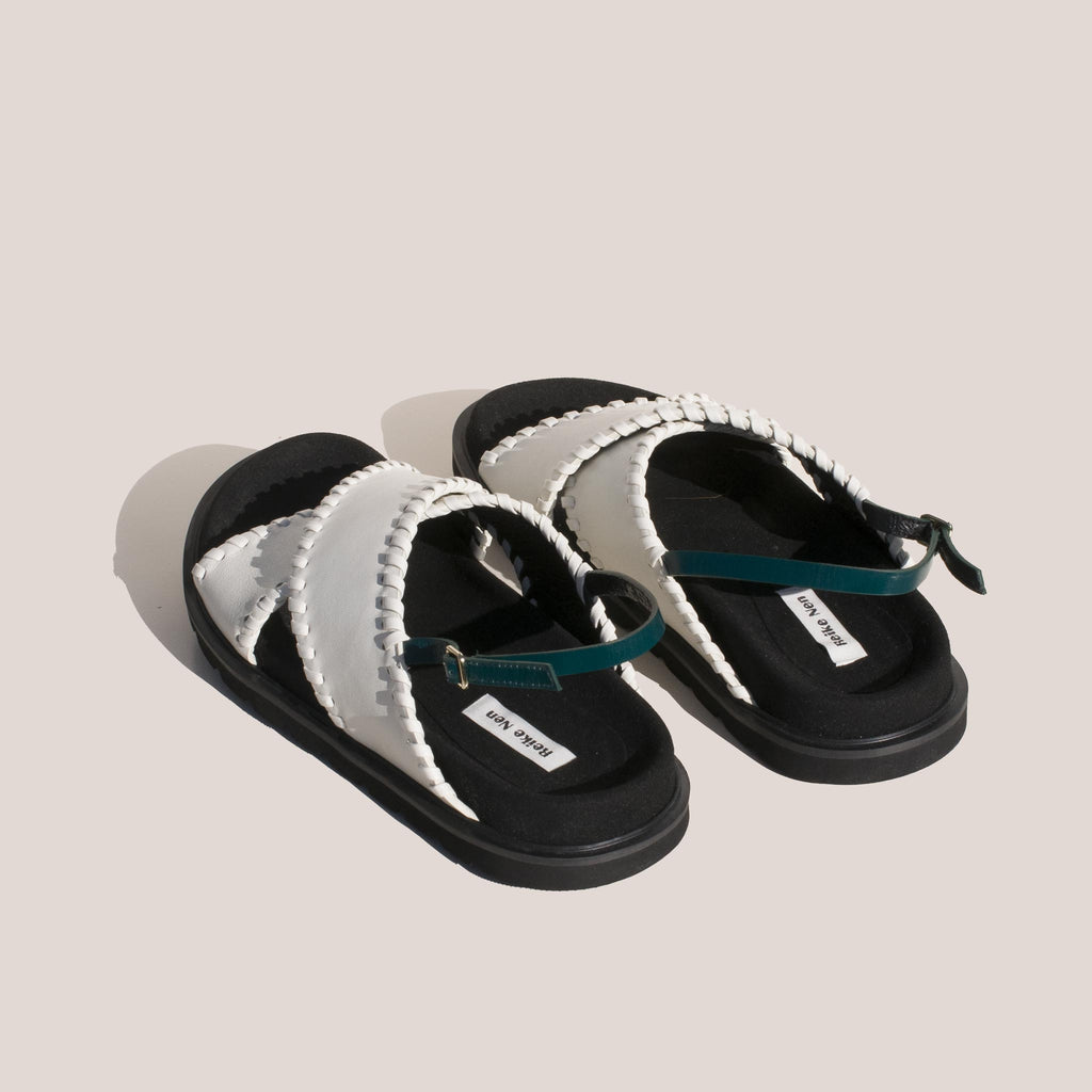 Reike Nen - X Strap Mold Sandals in Off White and Green, back view.