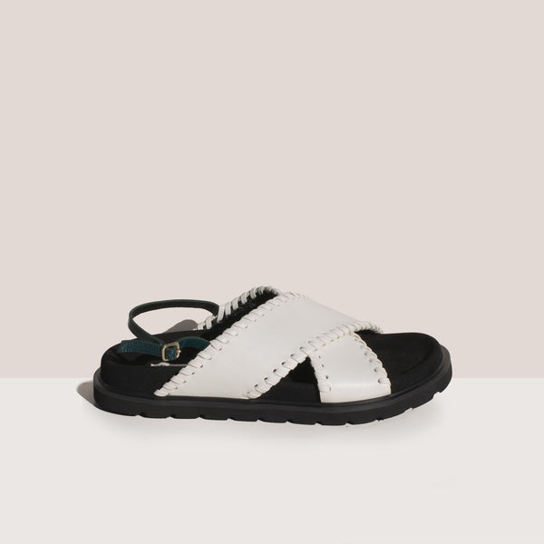 Reike Nen - X Strap Mold Sandals in Off White and Green, side view.